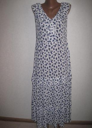 Вискозное платье в мелкий цветочек f&f р-р10,