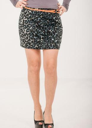 Ликвидация с возвратом! голандская теплая бархатная мини юбка с леопард. принтом и пояском