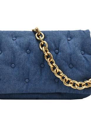 Модная женская сумка. сумка женская стеганая через плечо с цепочкой (джинсовая)