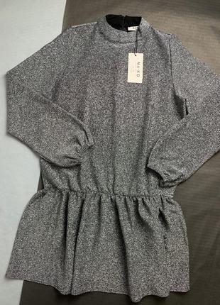 Срібне плаття вільного крою з люрексом na-kd4 фото