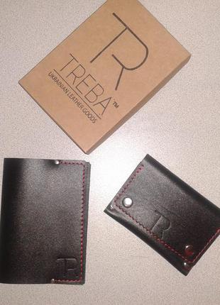 Мінігаманець+обкладинка на паспорт,шкіра,ручна робота (кошелек,обложка)