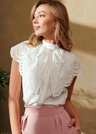 Рубашка с ажурным воротником