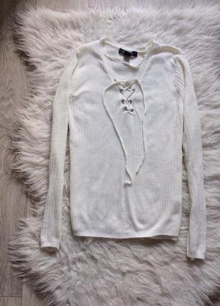 Кофточка свитер в рубчик с шнуровкой