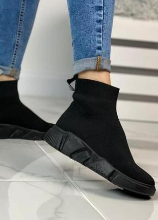 Высокие кроссовки чулки мокасины стрейч текстиль