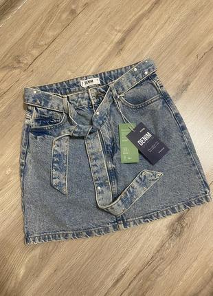 Юбка джинсовая пояс в комплекте