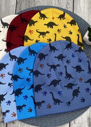 Шапка трикотаж с принтом динозавр 🦖 микки маус