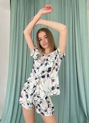 Пижама шёлковая принт оливки