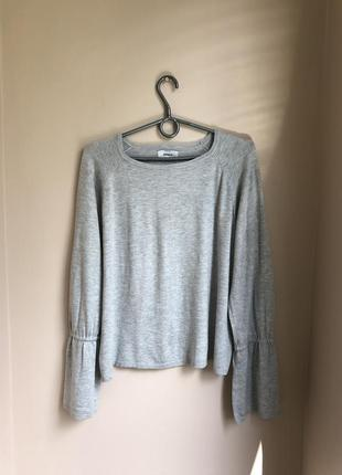 Кофта с рюшами воланы пуловер прямого кроя реглан шнуровкой