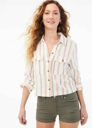 Новая рубашка в полоску укороченная женская рубашка в стиле zara reserved