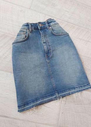 Джинсовая голубая мини юбка zara трапеция