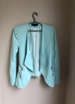 Пиджак голубой бирюзовий жакет 36/38 s/m zara