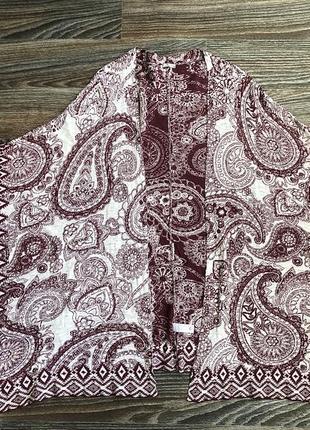 Белая и бордовая хлопковая и акриловая вязаная накидка кардиган кофта кофточка от tu