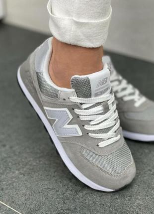 Женские кроссовки new balance 574 gray reflective