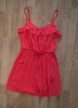 Яркий сарафан платье с рюшами h&m