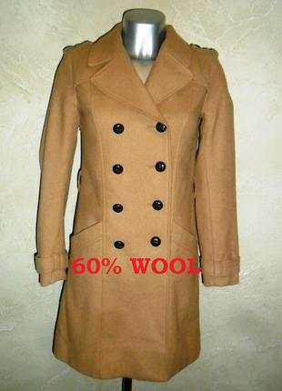 Теплое бежевое шерстяное пальто h&m xхxs-хs 2