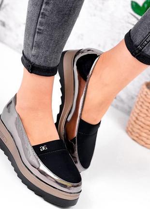 Женские туфли эко лак и неопрен