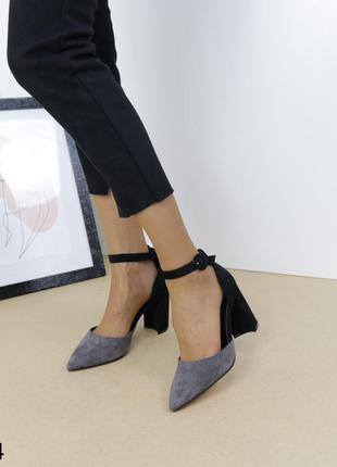 Туфли замшевые серые, женские туфли на устойчивом каблуке, стильные туфли замшевые летние