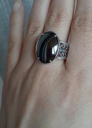 Серебряное кольцо с гематитом 18,5р1 фото