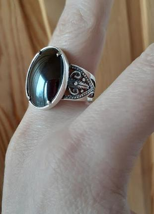 Серебряное кольцо с гематитом 18,5р6 фото