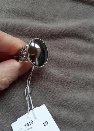 Серебряное кольцо с гематитом 18,5р2 фото
