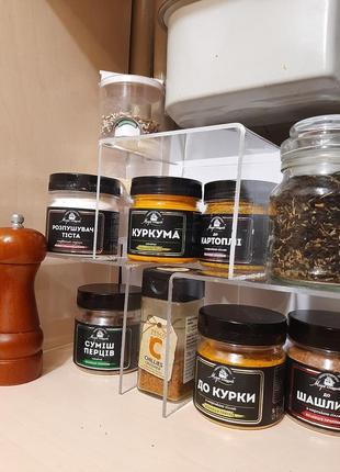 Полочка на кухню акриловая органайзер подставка для бокалов в шкаф