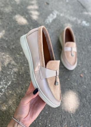 Туфлі лофери з натуральної шкіри та щамшу 35-41, кожаные лоферы
