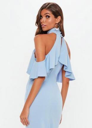 Идеальное вечернее шикарное голубое платье макси с разрезом спереди xxs-xs missguided