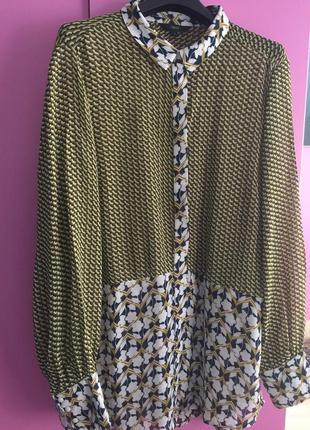Удлиненная блузка рубашка из вискозы