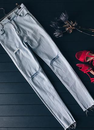 Крутые голубые джинсы с дырками и необработанными краями размер 32 34 xxs xs
