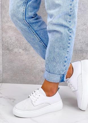 💥женские кроссовки из натуральной перфорированной кожи💥