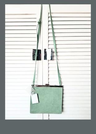Роскошная кожаная сумка замшевая мятного цвета плоская сумка cross body reserved ридикюль