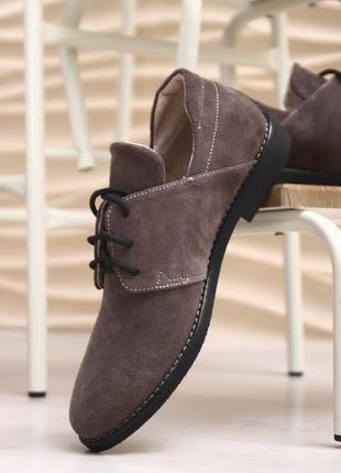 Женские коричневые туфли из замши