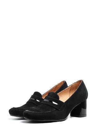 Туфли замшевые устойчивый широкий каблук натуральная замша