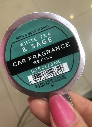 Аромат в авто bath and body works white tea & sage