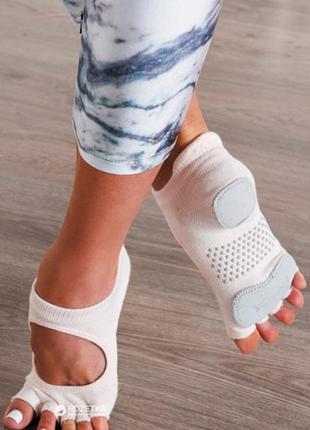 Toesox носки prima bellarina с кожаными вставками  для йоги, танцев и пилатеса