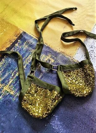 Золотистый в пайетки верх купальника бикини usa на завязках usa 42-46