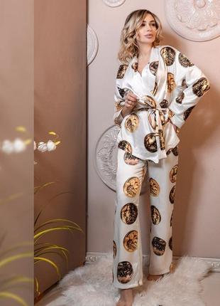 Пижама двойка атлас 42,48,50рр полномер распродажа
