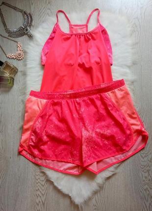 Розовый цветной спорт костюм шортами майка с топом батал большой размер беременным