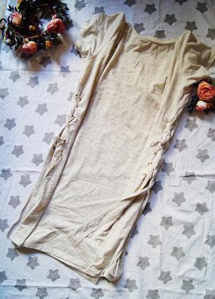 Стильная удлиненная футболка с шнурками по бокам, шнуровка, завязки
