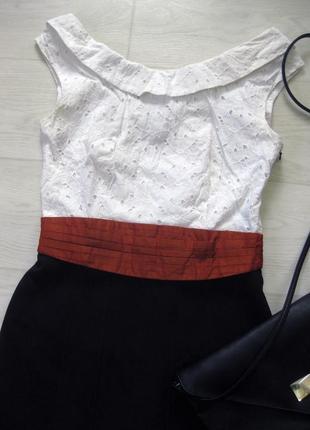 Платье karen millen комбинированное белое чёрное классическое коттон офис облегающее2 фото