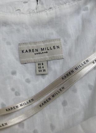 Платье karen millen комбинированное белое чёрное классическое коттон офис облегающее9 фото