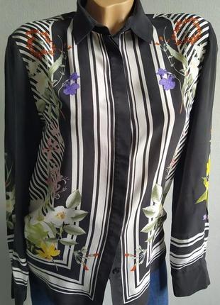 Блуза в полоску и цветами, 100% натуральный шелк.