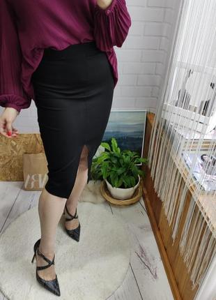 Базовая юбка карандаш длины миди с разрезом от zara