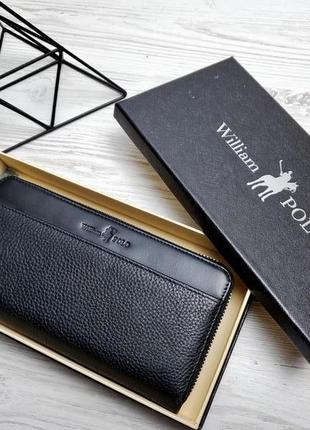 Универсальный кожаный кошелек william polo оригинал (145 black) черного цвета waterproof