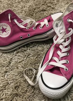 Converse женские высокие розовые кеды