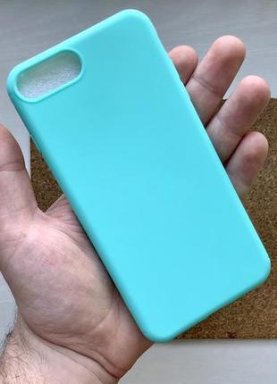 Чехол бирюзовый на для айфон iphone 8 + плюс plus силиконовый