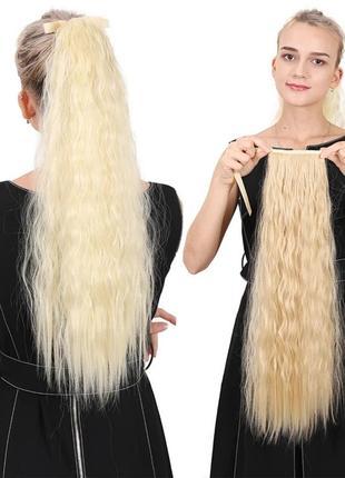 Хвост кучерявый, хвост на ленте гофре, шиньон на ленте из искусственных волос