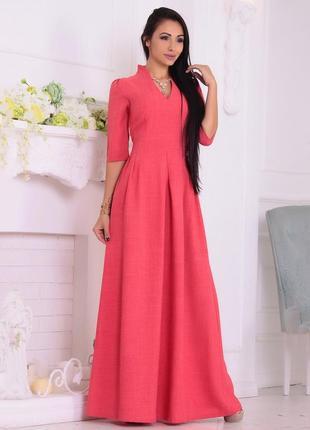 Шикарное платье на выпуск цвета красный коралл laura bettini