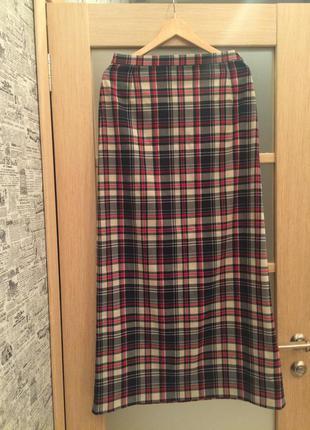 Бежевая длинная макси - юбка в клетку (бесплатная доставка)