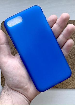 Чехол синий на для айфон iphone 8 + плюс plus силиконовый